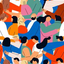 Diverse People In Love Seamless Pattern Cartoon