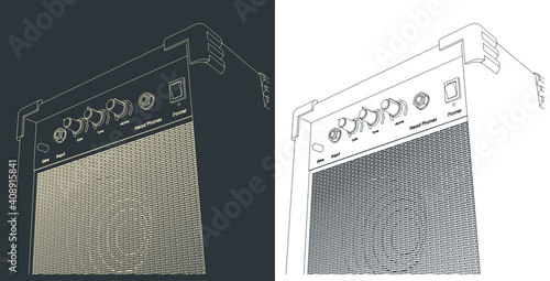 Guitar combo amplifier sketches Fototapeta