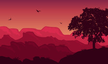 Very Amazing Nature Scenery At Twilight In The Countryside. Vector Illustration