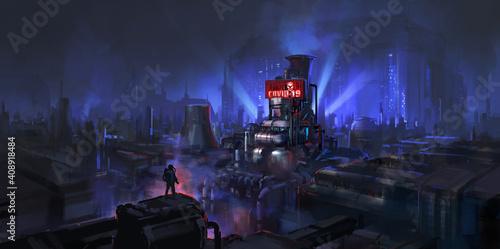 Steampunk style city, new coronavirus factory, digital painting.