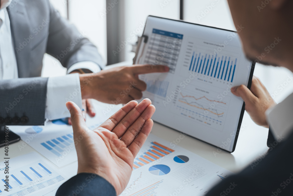 Fototapeta Businessman meeting and working with financial report, talking about business plan for investment, finance analysis concept