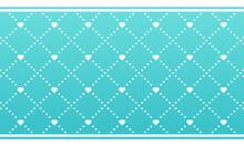 Cute Teal Blue Green Heart Pattern, Vector Pattern Swatch, Horizontal Layout