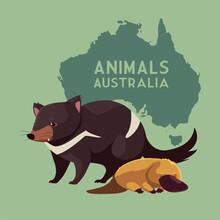 Tasmanian Devil And Platypus Australian Continent Map Animal Wildlife