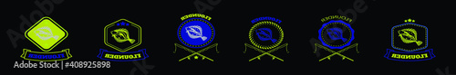 Fototapeta set of flounder fish logo cartoon icon design template with various models