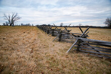 A View Of The American Civil War Battlefield In Gettysburg,