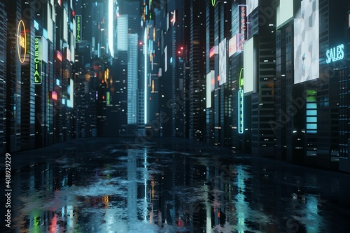 3D Rendering of billboards and advertisement signs at modern buildings in capital city with light reflection from puddles on street. Concept for night life, never sleep business district center (CBD) #408929229