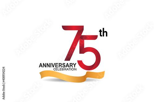 75 anniversary design logotype red color and golden ribbon for celebration isola Tapéta, Fotótapéta