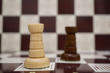 Close-up Shot Of White Rook On The Chess Board