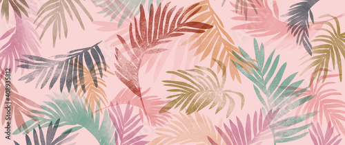 Fototapety, obrazy: summer tropical wall arts vector. Palm leaves, monstera leaf, Botanical  background design for wall framed prints, canvas prints, poster, home decor, cover, wallpaper.