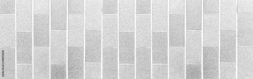 Fototapeta Panorama of Granite tile floor white terrazzo outside the building pattern and background seamless