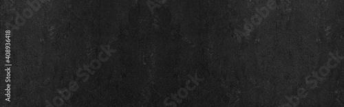 Obraz Panorama of Dark grey black slate background or texture. Black granite slabs background - fototapety do salonu