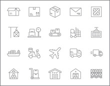 Set Of Logistics And Delivery Line Style. It Contains Such Icons As Box, Shopping, Commerce, Retail, Trade, Merchandise, Container, Vehicle, Truck And Other Elements. Customize Color, Easy Resize.
