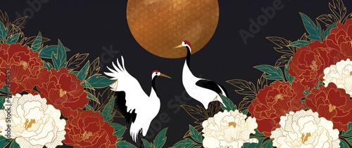 Fotografie, Obraz Luxury gold floral oriental style background vector
