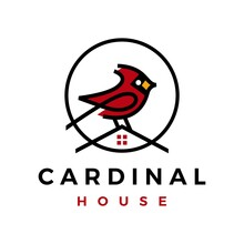Cardinal Bird House Home Roof Mortgage Line Color Fill Logo Vector Icon Illustration
