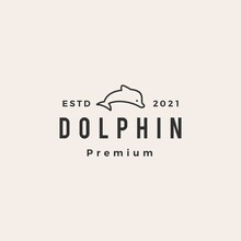 Dolphin Hipster Vintage Logo Vector Icon Illustration