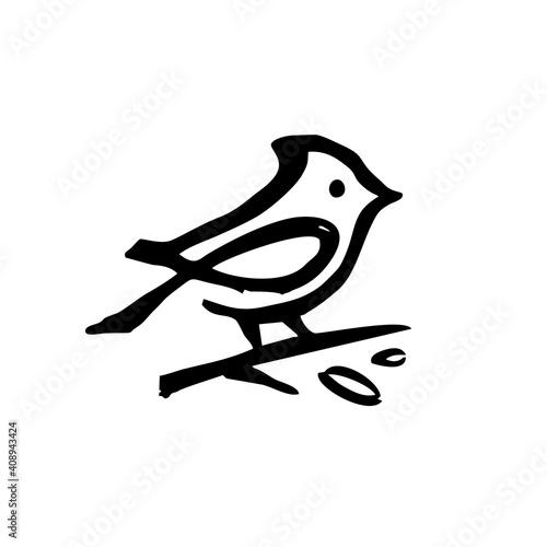 Fényképezés cardinal ink dry brush black logo vector icon illustration