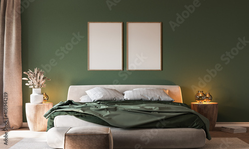 Fototapeta Home interior background, cozy green bedroom with  bright furniture natural wooden tables, modern style, 3d render obraz