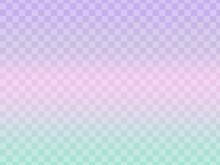 薄紫からピンク、水色の3色のグラデーション-市松模様入り