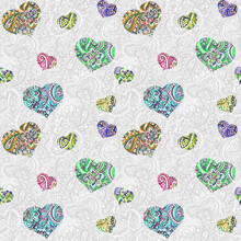 Seamless Grey Pattern With Ornate Hearts On Ornamental Background With Arabian Ornament