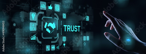 Obraz Trust customer relations reliability business concept. Pointing and pressing on virtual screen. - fototapety do salonu