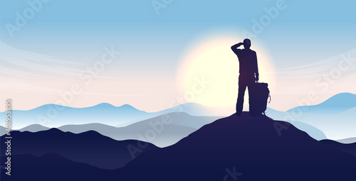 Obraz Man on top of the world - Silhouette of male person looking to the horizon, watching sunrise and the start of a new day. Hope and opportunity concept. Vector illustration. - fototapety do salonu