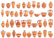 Amphora Icons Set. Cartoon Set Of Amphora Vector Icons For Web Design