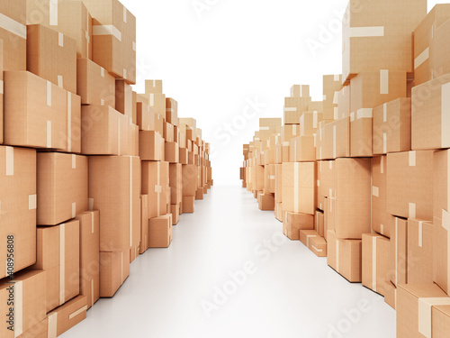 Corridor consisting of cardboard boxes. 3D illustration © Destina