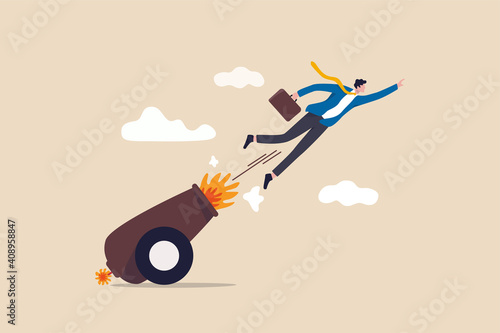 Canvas-taulu Career boost or job promoted, productivity or advancement in work concept, businessman shot from explosive cannon boosting high to achieve business success