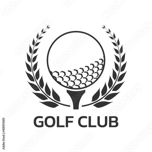 Golf club logo, badge or icon with ball on tee and laurel wreath Fototapeta