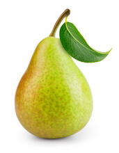 Pear Isolated. One Green Pear Fruit With Leaf On White Background. Green Pear. With Clipping Path. Full Depth Of Field. .