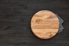 Empty Round Wooden Platter