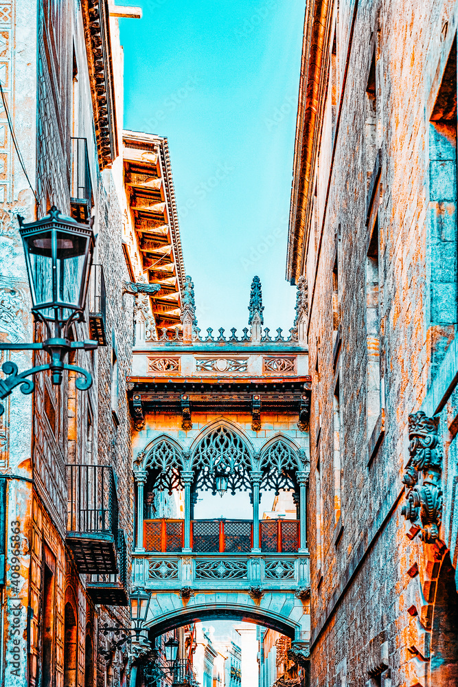 Fototapeta Gothic Quarter in the heart of Barcelona.Catalonia.Spain.