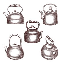Set Of Vintage Copper Teapots In Sketch Style, Outline Drawing Isolated On White Background, Stock Illustration For Design And Decor, Vintage, Sticker, Poster, Banner