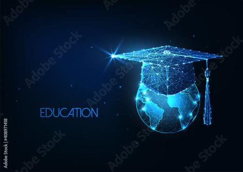 Billede på lærred Futuristic international eductaion concept with glowing low polygonal graduation
