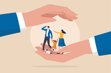 Family Safety, Life Insurance Or Protection Concept, Lovely Family Holding Hands, Parent With Daughter And Cute Little Dog In Helping Hand Palm With Other Hand Cover Above For Shelter And Protection.
