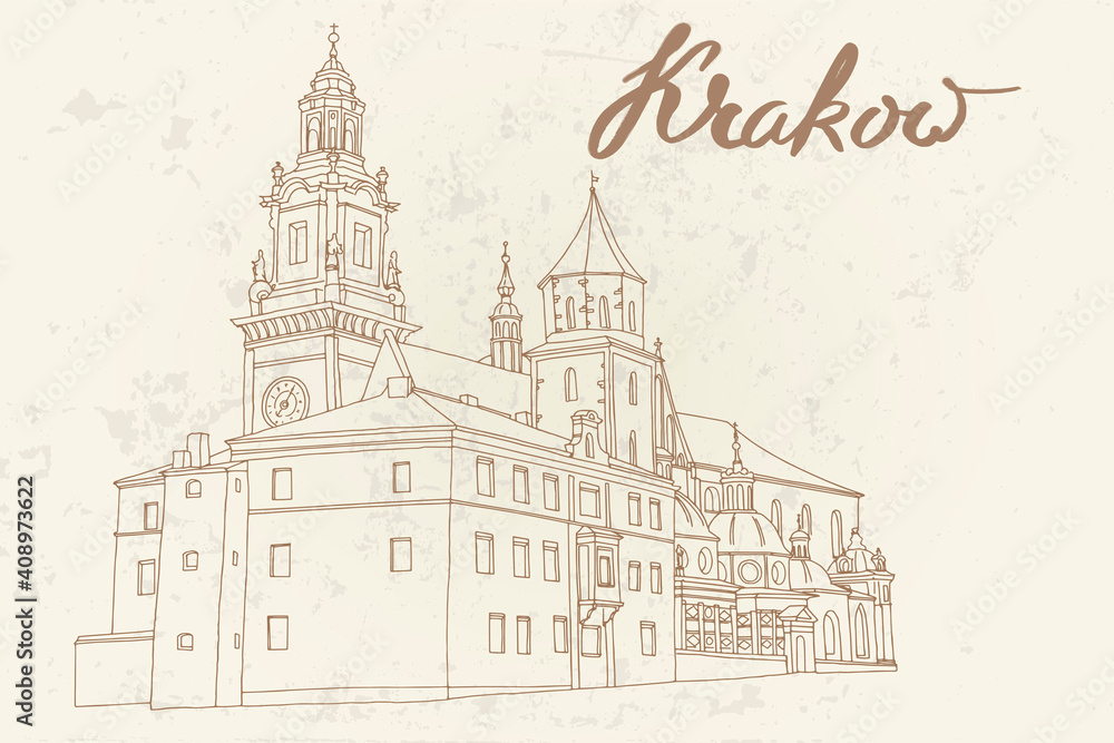 Obraz vector sketch of The Royal Archcathedral Basilica of Saints Stanislaus and Wenceslaus on the Wawel Hill. Krakow, Poland. fototapeta, plakat