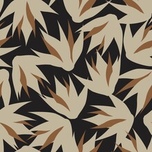 Brown Floral Brush Strokes Seamless Pattern Background