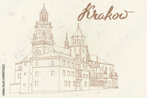 Fototapeta vector sketch of The Royal Archcathedral Basilica of Saints Stanislaus and Wenceslaus on the Wawel Hill. Krakow, Poland. obraz