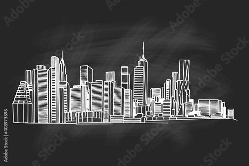 New York Skyline. Vector sketch.