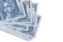 50 Croatian Kuna Bills Lies In Small Bunch Or Pack Isolated On White. Mockup With Copy Space. Business And Currency Exchange