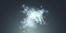 Realistic Lightning Bolts On A Black Transparent Background. The Charge Of Energy Is Powerful. Accumulation Of Electric Orange And Blue Charges. A Natural Phenomenon. Magic Effect.