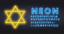 Yellow Neon Six-pointed Star Of David, Shining Blue Magic Vector Star. Vector Realistic Neon Sign Magen David Six-pointed Star Logo For Invitation Covering On The Wall Background. Logo For Shavuot