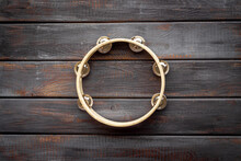 Percussion Instrument Tambourine, Top View. Music Background