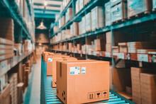 Parcels On Conveyor Belt In A Warehouse.