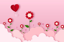 Paper Craft Valentine Day Floral Pink Background