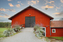 Old Red Barn. Red Big Wooden House In Sweden. Red Barn In The Country. Wedding Location Out In Sweden. Location For Party Outside. Travel In Sweden