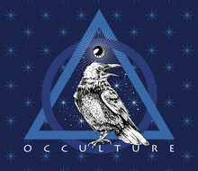 Crow And Mystic Eye Symbol On A Stars Blue Background. Creative Occulture Poster, T-shirt Composition, Hand Drawn Style Print. Vector Illustration.