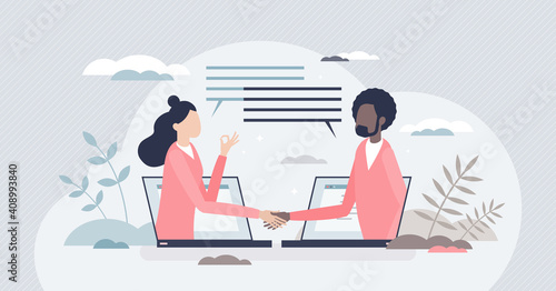 Obraz Virtual deal with distant online agreement handshake tiny person concept - fototapety do salonu
