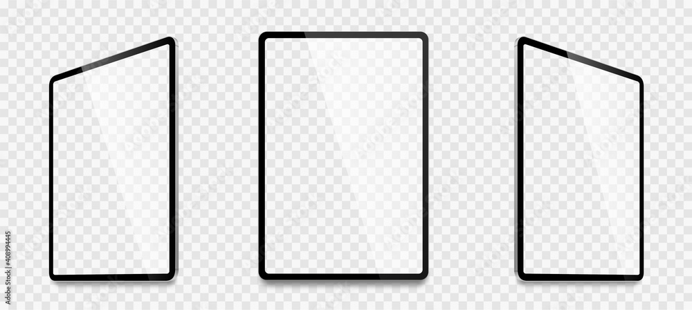 Fototapeta Realistic tablet computer mockup set. Tablet PC realistic mockup front view with shadow. Electronic gadget - stock vector. - obraz na płótnie