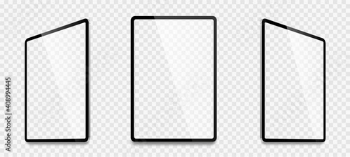 Fototapeta Realistic tablet computer mockup set. Tablet PC realistic mockup front view with shadow. Electronic gadget - stock vector. obraz na płótnie